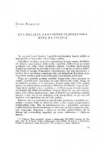 Dva reljefa anonimnog sljedbenika Mina da Fiesole / Cvito Fisković