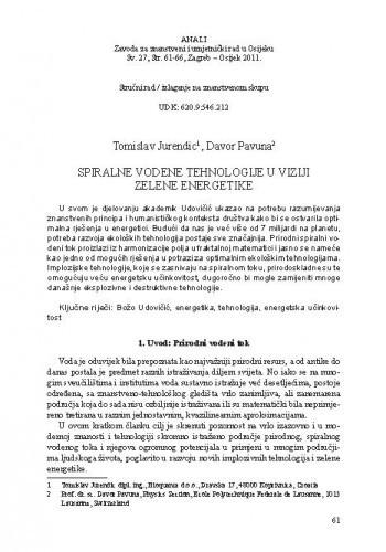 Spiralne vodene tehnologije u viziji zelene energetike / Tomislav Jurendic, Davor Pavuna