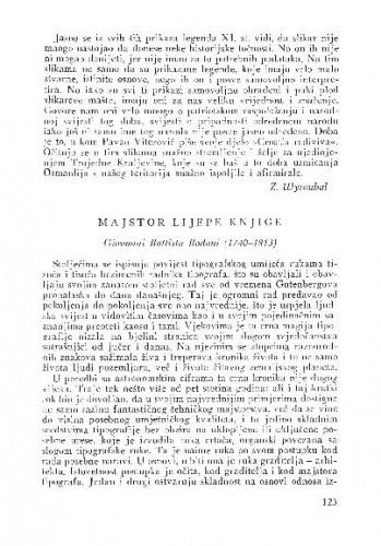 Majstor lijepe knjige Giovanni Battista Bodoni (1740-1813) / Lj. B.