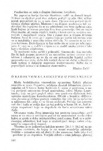 O baroknom klasicizmu u Pogančecu / Anđela Horvat