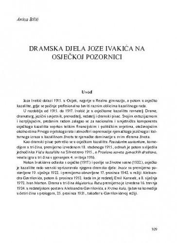 Dramska djela Joze Ivakića na osječkoj pozornici / Anica Bilić