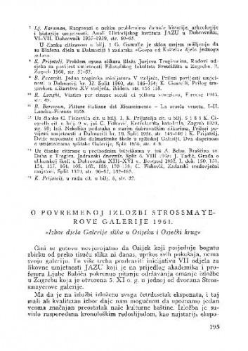 O povremenoj izložbi Strossmayerove galerije 1961. / M. Despot
