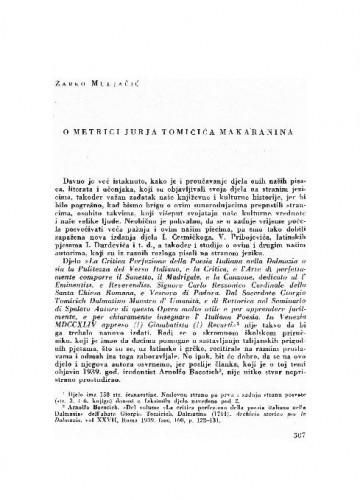 O metrici Jurja Tomičića Makaranina / Žarko Muljačić