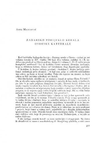 Zadarsko porijeklo korala osorske katedrale / Ante Matijević