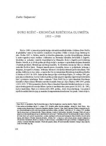 Đuro Rošić - kritički kroničar riječkoga glumišta 1955 - 1980 / Darko Gašparović