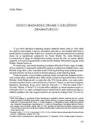 Odjeci mađarske drame u Krležinoj dramaturgiji / Jolán Mann