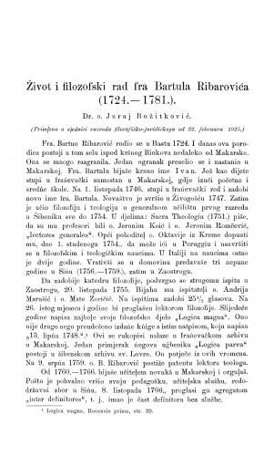 Život i filozofski rad fra Bartula Ribarovića : (1724.-1781.) / J. Božitković