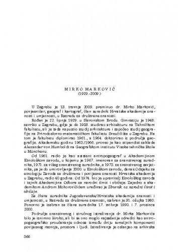 Mirko Marković (1929.-2009) : [nekrolog] / Tomislav Raukar