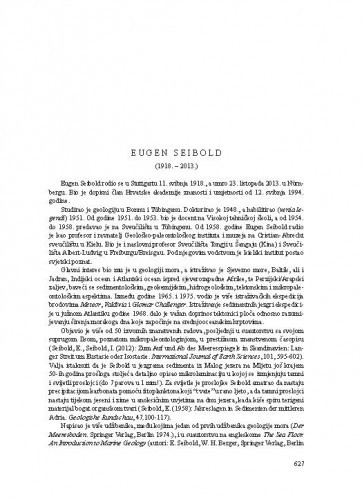 Eugen Seibold (1918.-2013.) : [nekrolog] / Mladen Juračić