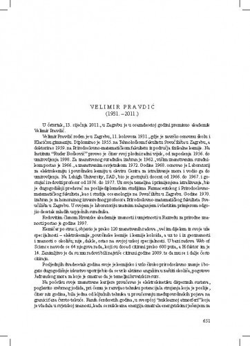Velimir Pravdić (1931.-2011.) : [nekrolog] / Jasenka Bišćan i Mladen Juračić