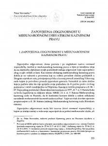 Zapovjedna odgovornost u međunarodnom i hrvatskom kaznenom pravu / Petar Novoselec