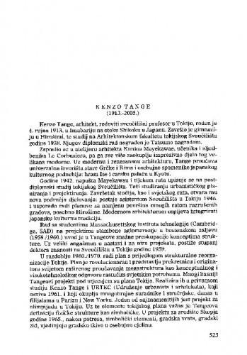 Kenzo Tange (1913.-2005.) : [nekrolog] / Ante Vulin