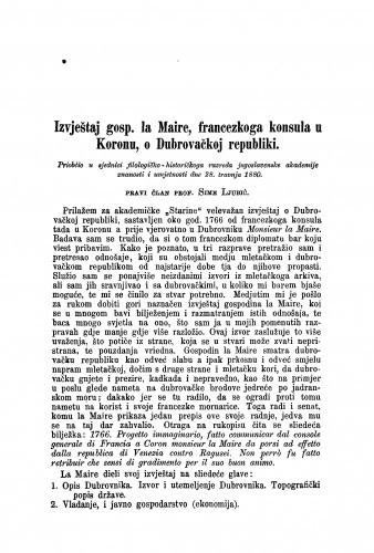 Izvještaj gosp. la Maire, francezkoga konsula u Koronu : o Dubrovačkoj republici / Sime Ljubić