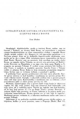 Istraživanje govora stanovništva na lijevoj obali Bosne / I. Brabec