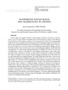 Academician Franjo Kogoj and allergology in Croatia / Jasna Lipozenčić, Albin Brnobić