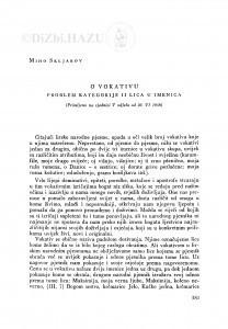 O vokativu : problem kategorije II lica u imenicama / M. Skljarov