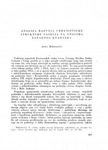 Analiza razvoja urbanističke strukture naselja na otocima zapadnog Kvarnera / A. Mohorovičić