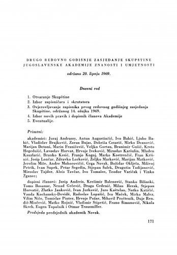 Drugo redovno godišnje zasjedanje Skupštine Jugoslavenske akademije znanosti i umjetnosti održano 20. lipnja 1969.