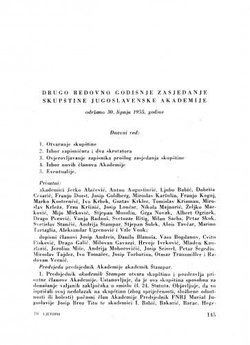 Drugo redovno godišnje zasjedanje skupštine Jugoslavenske akademije održano 30. lipnja 1955. godine