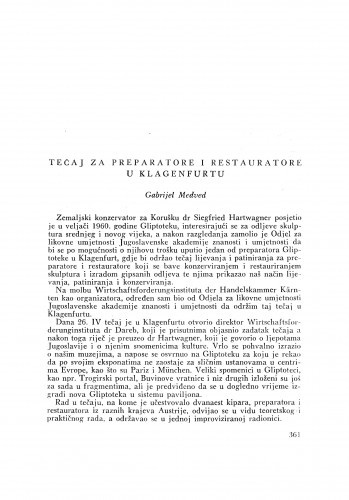 Tečaj za preparatore i restauratore u Klagenfurtu / G. Medved