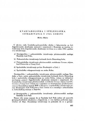 Kvartarološka i speleološka istraživanja u 1965. godini / M. Malez