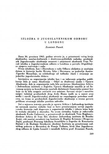 Izložba o Jugoslavenskom odboru u Londonu / Z. Passek