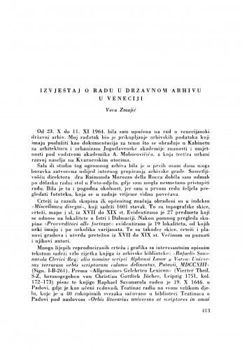 Izvještaj o radu u Državnom arhivu u Veneciji / V. Zmajić