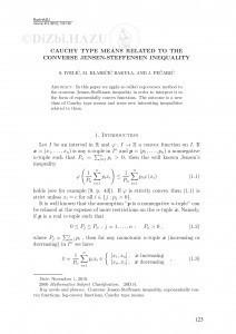 Cauchy type means related to the converse Jensen-Steffensen inequality / S. Ivelić, M. Klaričić Bakula, J. Pečarić