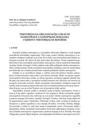 Teritorijalna organizacija lokalne samouprave u europskim zemljama i njihove teritorijalne reforme : [uvodno izlaganje] / Stjepan Ivanišević