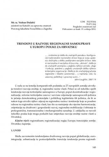 Trendovi u razvoju regionalne samouprave u Europi i pouke za Hrvatsku : [uvodno izlaganje] / Vedran Đulabić