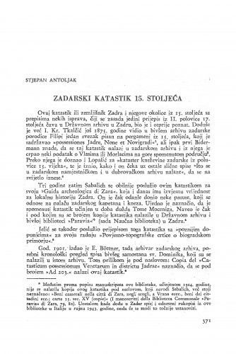 Zadarski katastik 15. stoljeća / Stjepan Antoljak