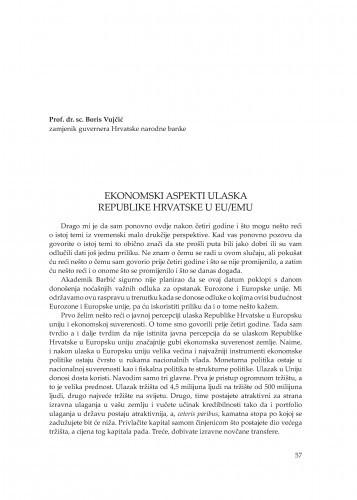 Ekonomski aspekti ulaska Republike Hrvatske u EU/EMU : [uvodno izlaganje] / Boris Vujčić