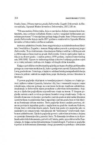 Ivanka Jemo, Urbana matrica grada Dubrovnika. Zagreb-Dubrovnik: ArTresor naklada, Ogranak Matice hrvatske u Dubrovniku, 2017. : [prikaz]Ivana Lazarević