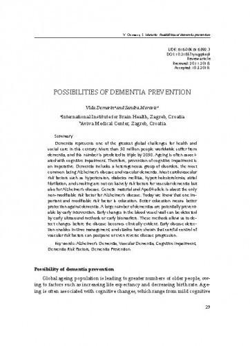 Possibilities of dementia prevention / Vida Demarin, Sandra Morović