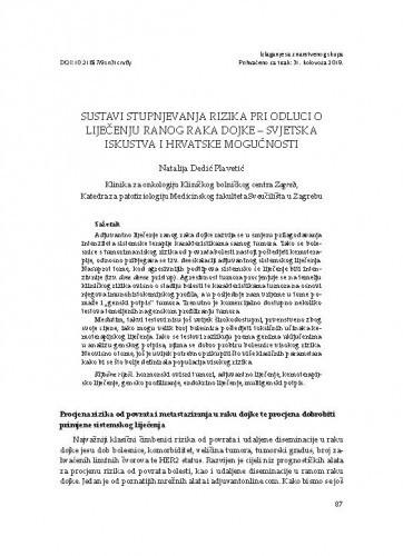 Sustavi stupnjevanja rizika pri odluci o liječenju ranog raka dojke - svjetska iskustva i hrvatske mogućnosti / Natalija Dedić Plavetić
