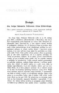Životopis dra Josipa Calasancia Schlossera viteza Klekovskoga / Lj. Vukotinović