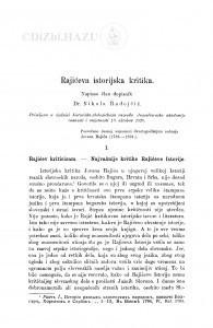 Rajićeva istorijska kritika / N. Radojčić