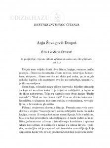 Što i zašto čitam? : dnevnik intimnog čitanja / Anja Šovagović Despot