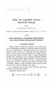 Jedna vrst integralnih teorema Besselovih funkcija / Danilo Blanuša