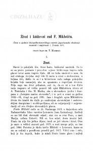 Život i kńiževni rad F. Miklošića / T. Maretić