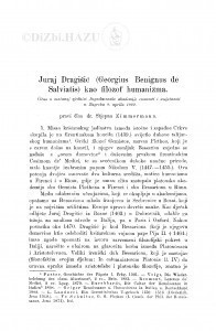 Juraj Dragišić (Georgius Benignus de Salviatis) kao filozof humanizma / S. Zimmermann