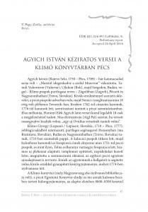 Agyich István kéziratos versei a Klimó Könyvtárban Pécs : Rukopisne pjesme Stjepana Adžića u Biskupijskoj knjižnici Klimo u Pečuhu / Zsófia T. Papp