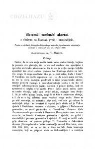 Slavenski nominalni akcenat s obzirom na litavski, grčki i staroindijski / T. Maretić