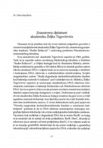 Znanstvena djelatnost akademika Željka Trgovčevića
