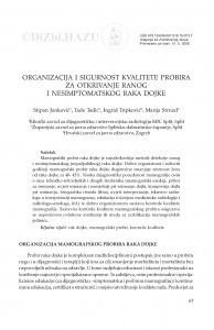 Organizacija i sigurnost kvalitete probira za otkrivanje ranog i nesimptomatskog raka dojke / Stipan Janković, Tade Tadić, Ingrid Tripković, Marija Strnad