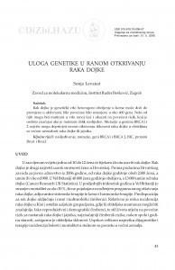 Uloga genetike u ranom otkrivanju raka dojke / Sonja Levanat
