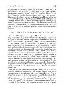 Vrhunska izvedba hrvatske glazbe : [glazbena kronika] / Irena Paulus