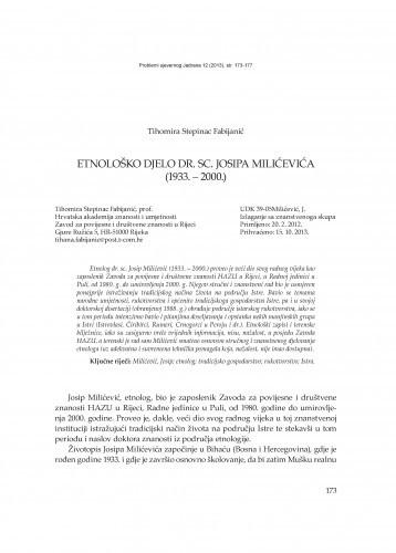 Etnološko djelo dr. sc. Josipa Milićevića (1933. - 2000.) / Tihomira Stepinac Fabijanić
