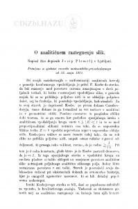 O analitičnem raztegnenju slik / J. Plemelj