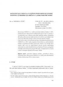Konvencija UNESCO-a o zaštiti podvodne kulturne baštine i jurisdikcija država u Jadranskome moru / Trpimir M. Šošić